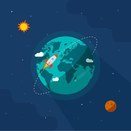 Earth in space vector illustration, rocket space ship flying around planet orbit on solar system universe, moon, starts flat cartoon design Vettoriali