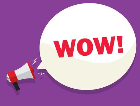 crackling: WOW message deal vector, sale promotion or discount sticker bullhorn, label, megaphone presentation poster. Flat style design. Illustration