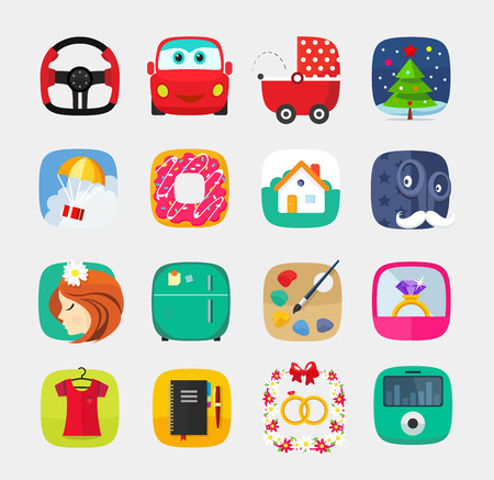 bagel: Mobile icons set in flat style for mobile app, internet, web interface design, electronics office wedding gifts clothes computer media player toys christmas bagel new year ring