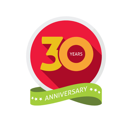 30th: 30th anniversary template with shadow number, 30 years icon. Thirty years birthday party symbol. Thirtieth anniversary, sticker, ribbon, banner poster, emblem, tag Illustration