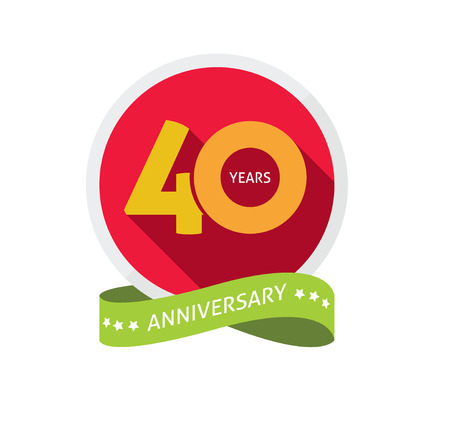 40 years: 40th anniversary template with shadow on circle number, 40 years icon. Forty years birthday party symbol. Thirtieth holiday sticker, ribbon, banner poster, emblem, tag