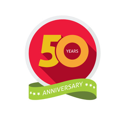 50 number: 50th anniversary template with shadow on circle number, 50 years icon. Fiftieth years birthday party symbol. fiftieth anniversary holiday sticker, badge ribbon, poster, emblem, tag