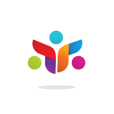 3 persons: Three people colorful abstract vector symbol. Group of 3 happy motivated persons together with hands. Community cooperation unity friends vector icon design. Friends society symbol sign