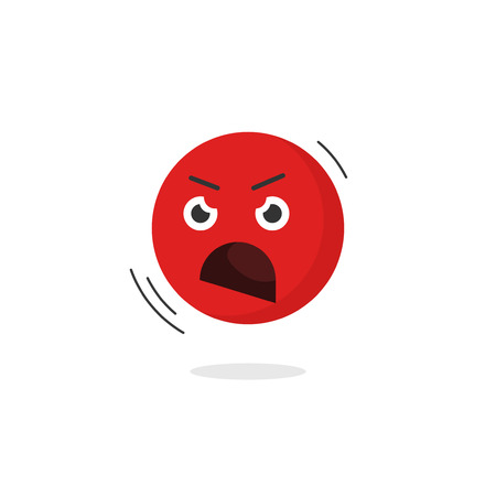 negative emotion: Angry emoticon face vector icon isolated on white background, cartoon shouting emoji character negative emotion