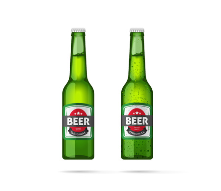 condensation on glass: Beer bottles vector isolated on white background