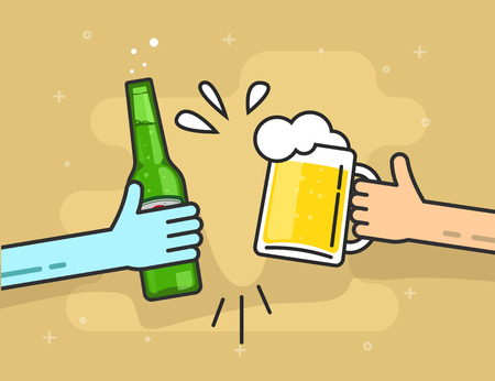 people in line: Hands holding beer glass and beer bottle, flat cartoon clinking toasting happy friends, cheering people party celebration in pub, flat outline art line design vector illustration