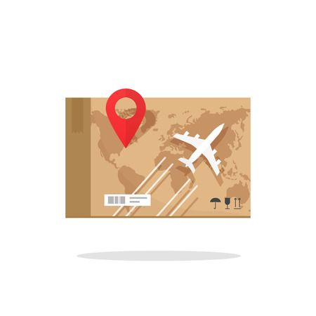 Air freight transportation vector illustration, plane cargo box worldwide delivery service concept, flat cargo aircraft flying, global world map and map pin location pointer on parcel box
