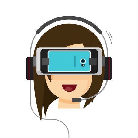 head phone: Virtual reality glasses on woman head isolated on white background, flat cartoon happy person playing in video game via mobile phone vr equipment, modern future technology entertainment