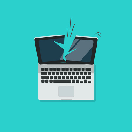 broken computer: Crashed laptop vector illustration isolated on blue color background, broken computer flat cartoon design