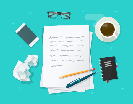 copywriter: Writer workplace vector illustration isolated on blue background, flat cartoon paper sheets on working table with text, pen and pencil, top view desktop with writing letter
