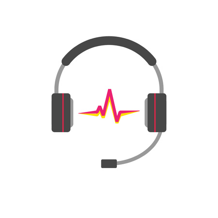 headset symbol: Music  vector concept isolated on white background, flat support headphones with read sound wave beat, broadcasting creative modern, hotline headset, customer help desk symbol