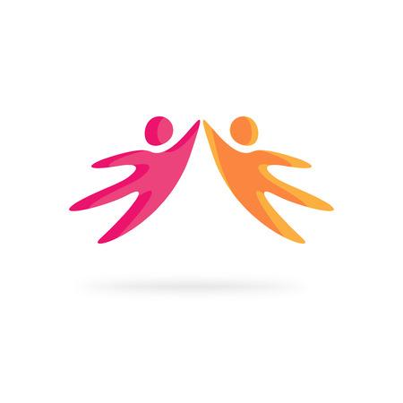 apoyo familiar: plantilla vector de la gente creativa aislado en el fondo blanco, amigos abstracto feliz motivado juntos tomados de la mano, el concepto de apoyo a la familia, la red comunidad social