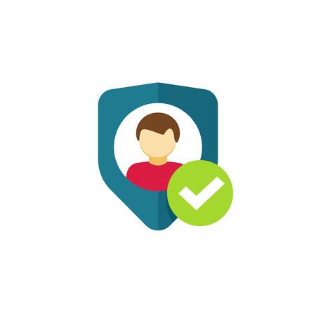 elementos de protecci�n personal: La autenticaci�n de usuarios del vector icono, privacidad emblema, escudo plana con el s�mbolo de persona, signo de protecci�n personal, icono de seguridad de autenticaci�n, confidencialidad etiqueta de seguridad aisladas sobre fondo blanco