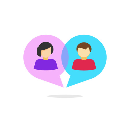 Woman and man relationship vector concept, flat cartoon abstract people in heart shaped bubble speech chatting, love relation communication, dating service, online dialog, isolated