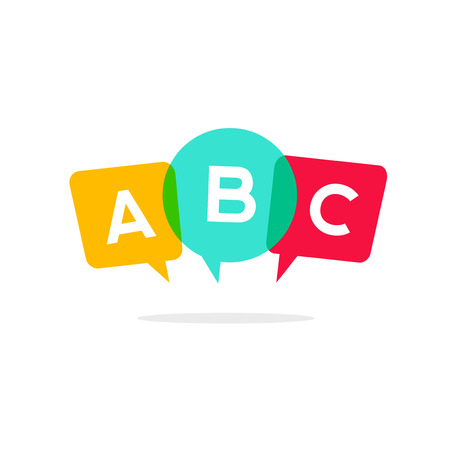 bubble letters: Learn ABC letters vector icon, child speaking conversation  concept, language school badge isolated on white background, bubble speeches with three alphabet letters Illustration