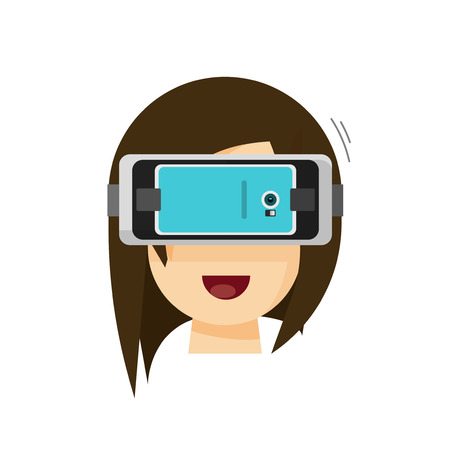 head phone: Person playing virtual reality glasses helmet via mobile phone vector illustration, flat cartoon hipster head with VR glasses device Illustration