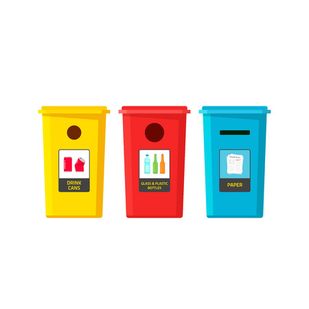 segregate: Recycle bins vector isolated on white, flat cartoon recycling trash containers for separate type of garbage Illustration