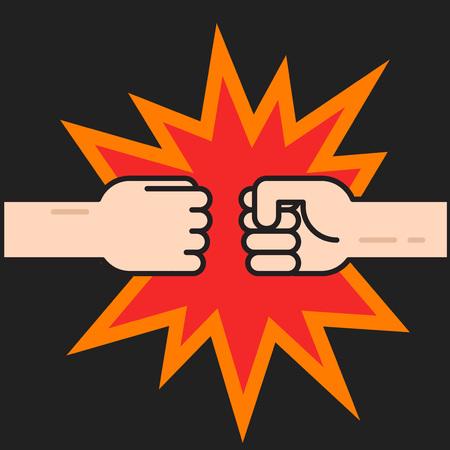 Twee vuisten stoten samen vector illustratie, twee handen met vuisten in de lucht ponsen, concept van de strijd, kracht cartoon gebaar op zwarte achtergrond, platte dunne lijn schetsontwerp