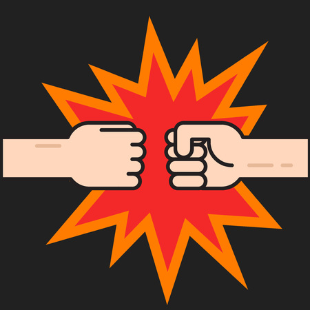 Two fists bumping together vector illustration, two hands with fists in air punching, concept of fight, strength cartoon gesture on black background, flat thin line outline design