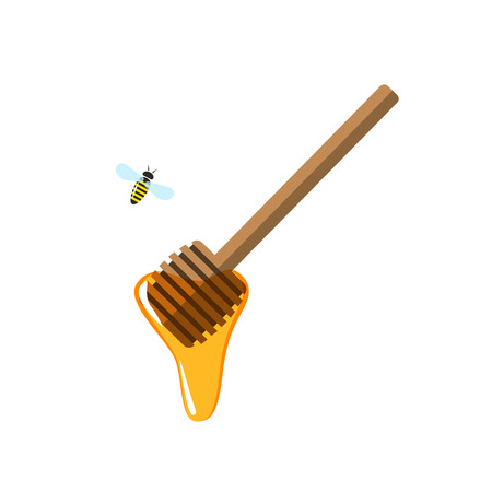 Honey dipper vector illustration, flying bee cartoon flat style, apiary production concept, icon isolated on white background