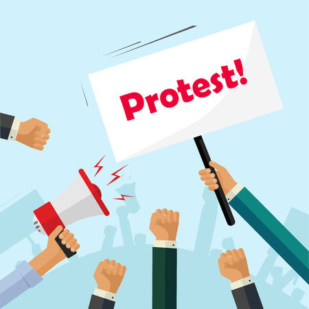 protest poster: Protesters hands holding protest signs, crowd of angry people, political poster, activist fists, revolution placard concept, flat cartoon style modern design vector illustration Illustration