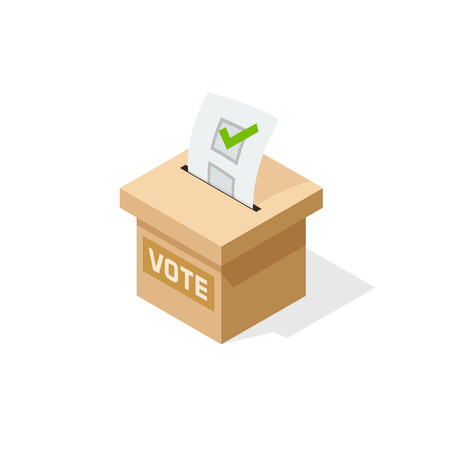 Voting box vector illustration with inserting paper sheet of elected checkmark, flat cartoon isometric vote box isolated on white background 일러스트