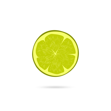 lime slice: Lime slice vector icon isolated on white background, flat simple green lime piece illustration