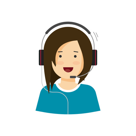 Support assistant vector illustration isolated on white, customer help desk agent woman speaking in microphone headphones, happy call center agent smiling and working, flat cartoon operator in headset Vettoriali