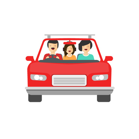 family trip: Happy family inside car driving vector illustration isolated on white background, flat cartoon people together drive auto with smiling faces, concept of family trip, journey, Illustration