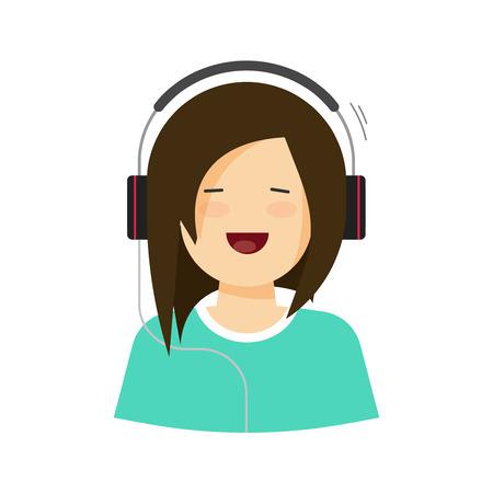Bonne jeune fille écoutant de la musique dans les écouteurs illustration isolé, dessin animé plat jolie femme qui chante la chanson, dame de beauté décontractée dans le casque avec le visage souriant gai