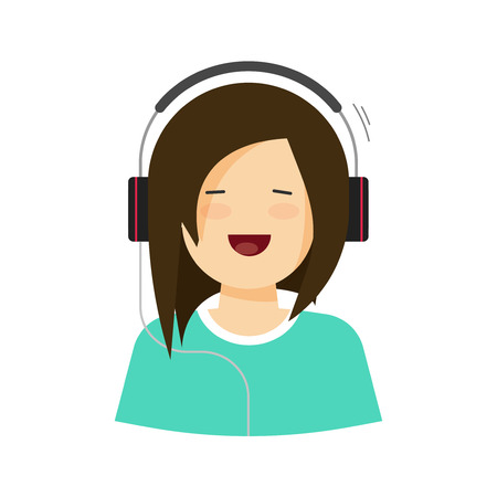 face with headset: Happy young girl listening music in headphones vector illustration isolated, flat cartoon pretty woman singing song, casual beauty lady in headset with cheerful smiling face