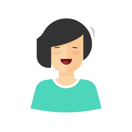 middle aged woman: Happy woman smiling vector illustration isolated on white background, flat cartoon simple style middle aged positive lady character cheering, happiness