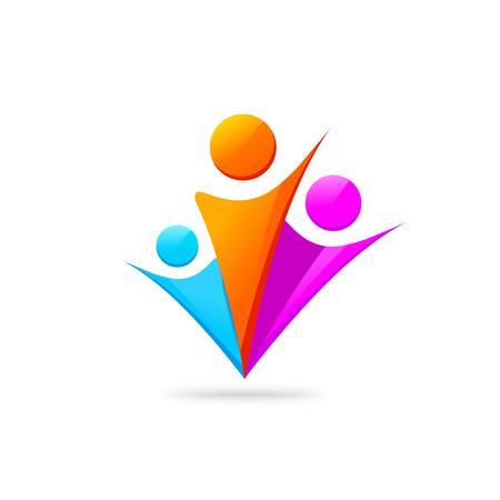 Trois gens heureux logo modèle isolé sur blanc, concept de motivation symbole gens d'union avec les mains, la famille signe le soutien de l'unité, un groupe de personnes communauté, fiends abstraites, conception de vecteur