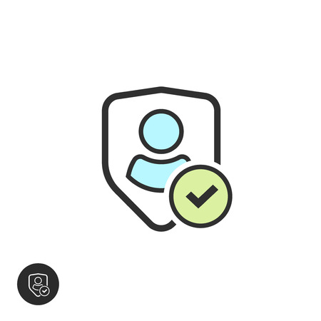 sheild: User authentication pictogram vector sign line outline style, privacy emblem, flat shield with person symbol, personal protection security icon, secure confidentiality label isolated on white