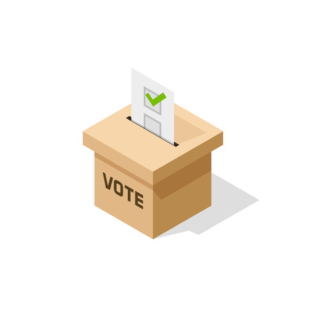 voting box: Voting box isometric vector, flat isometric ballot box with paper sheet and voting result inside