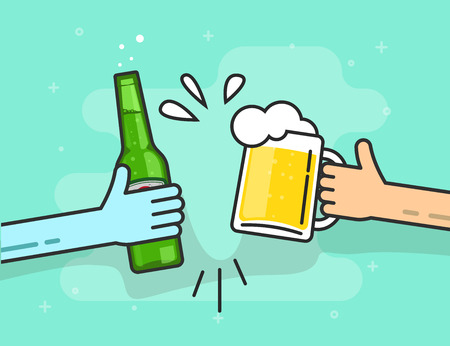 toasting: Beer toasting vector illustration on blue background, hands holding beer glasses with foam and bubbles flat outline line style, concept of celebrating in pub, birthday party