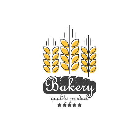 produits c�r�aliers: oreilles m�res de c�r�ales et �l�ment de vecteur de la boulangerie, le concept pour la r�colte des produits biologiques de style de contour de la ligne, le grain lin�aire, symbole de la nourriture saine isol� sur fond blanc
