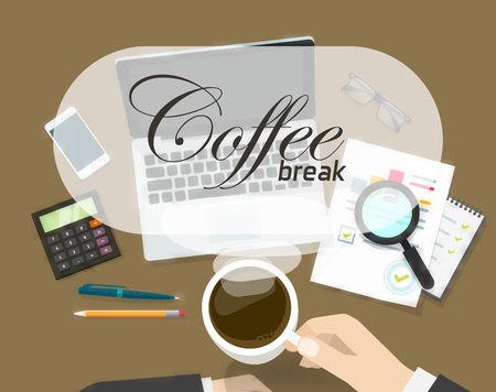 short break: Coffee break banner vector illustration, concept of coffee time on office workspace, work place, person hand with hot coffee cup ready to drink and coffee break text, flat cartoon design Illustration