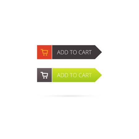add: Add to cart button vector with shopping cart icon on white background