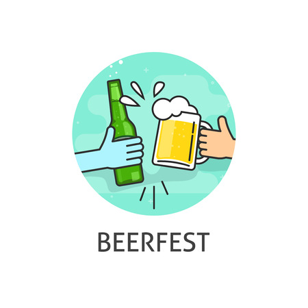toasting: Beer festival, flat outline beerfest label with hands holding beer glass and bottle toasting badge Illustration