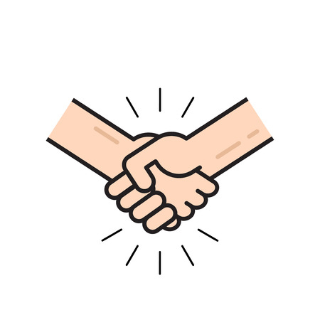 Handshake icon vector isolated on white background, flat outline line style hands shaking, symbol of agreement, deal, friendship Illustration