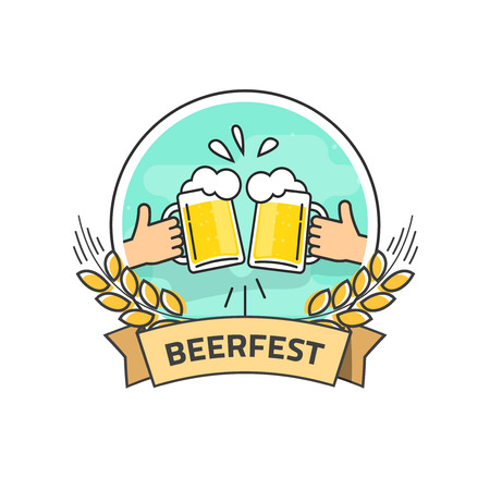 beer fest: Beer festival vector label isolated on white background, flat hands holding beer glasses with foam and bubbles, beer fest  with ribbon, creative vintage banner design, outline line style