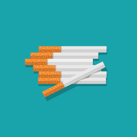 Cigarettes heap vector illustration isolated on blue color background, flat cartoon cigarettes pile lying on table top view