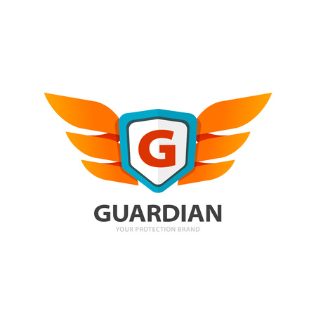 Guardian protection   isolated on white background, flat wings with shield and letter G emblem, concept of protect symbol, security  element, creative trendy brand design Illustration
