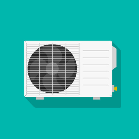 Air conditioner unit vector illustration isolated, flat white air conditioning unit icon
