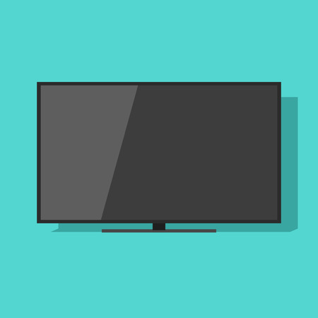 lcd display: TV screen vector illustration isolated on green color background, black flat lcd television display or monitor Illustration