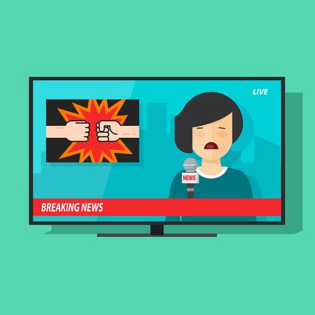 newscaster: Breaking news on tv screen vector illustration, news television program with unhappy woman reporter