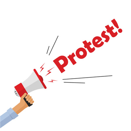 activist: Protestor hand holding bullhorn shouting protest text sign, angry person, activist, revolution placard concept, flat cartoon style modern design vector illustration isolated on white