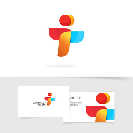 i t: Two people vector and business card design, abstract flying birds symbol, letter i and t concept, wings social payment icon concept, friends, teamwork symbol, airlines success