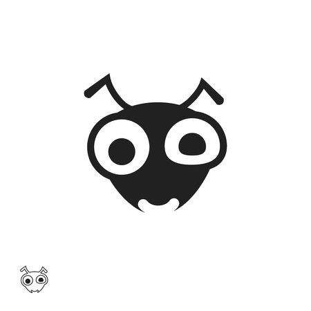 Ant head vector icon isolated on white background, flat cartoon insect bug face illustration, outline black line style